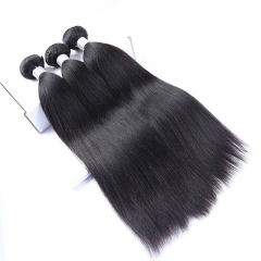 Indian Remy Human Hair Yaki Straight Hair Weave Natural Color 3 Bundles