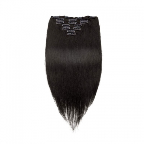 70g 7pcs Clip In Hair Extensions Straight Brazilian Hair Jet Black