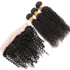Kinky Curly Remy Hair 3 Bundle Deals With Lace Frontals