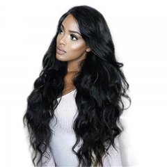 180% Density Long Space Lace Front Human Hair Wigs With Baby Hair Peruvian Non-remy Hair For Black Women Natural Color Body Wave Glueless Full La
