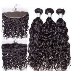 Affordable Brazilian Hair Water Wavy Weave Bundles With Lace Frontal