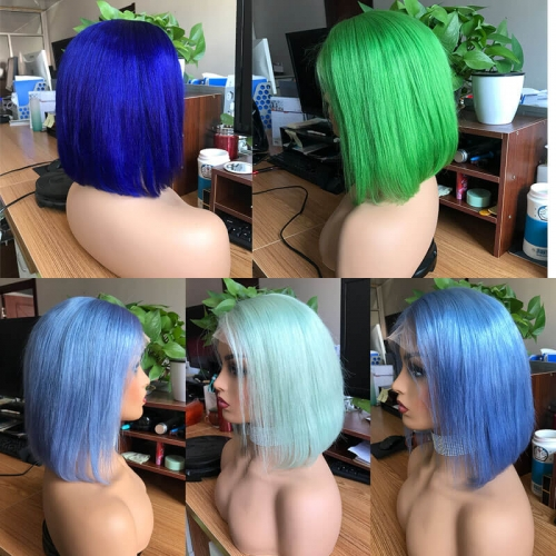 Blue & Green Colorful Short Bob Lace Front Wigs Silky Straight Human Hair Wigs Transparent Lace Pre Plucked for Women 150%