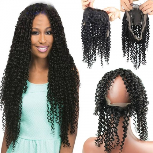 8A Grade 360 Lace Frontal Band Closure 22.5x4x2inch Brazilian Virgin hair Kinky Curly 360 Degrees Closure In Stock