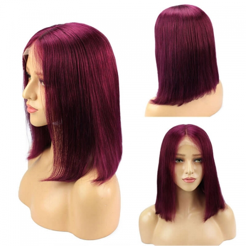 Red Short Bob Wigs for Black Women Straight Lace Front Human Hair Wigs Colored Brazilian Remy Hair Wigs 150 Density