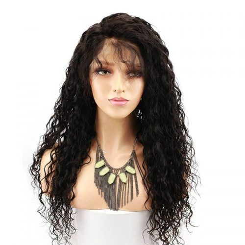 150 Percent High Density Lace Front Wig Water Wave With Baby Hair Human Hair Wig