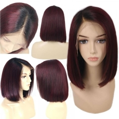 Eseewigs Short Bob 1B 99J?Ombre Human Hair Lace Front Wigs With Baby Hai Straight 130% Density 100% unprocessed Brazilian Virgin Hair Wig