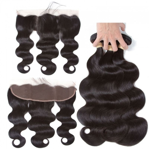 Real Human Hair Body Wave Ear To Ear Lace Frontal With 3 Bundles