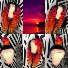 Human Virgin Hair Pre Plucked Ombre Red Color 13x4x1 T Part Lace Front Wigs
