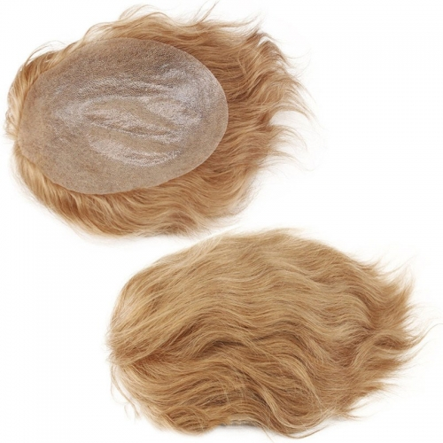 "Ultra Thin Skin Toupee 100%Human Hair 8X10"" Hairpiece Replacement For Men #21 Ash Blonde Color"