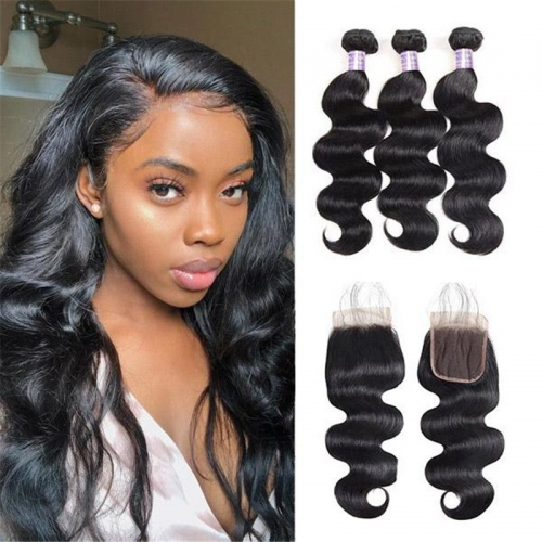 Eseewigs Brazilian Body Wave 3 Bundles with Lace Closure Human Hair
