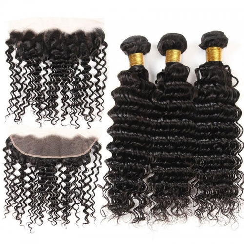 100 Human Hair Bundles With 13X4 Deep Wave Lace Frontal Closure