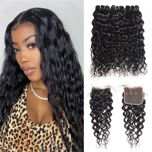 Eseewigs Brazilian Water Wave 3 Bundles With 4*4 Lace Closure
