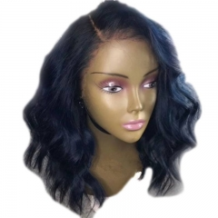 Lace Front Wigs Short Bob Wavy Human Hair Deep Part Wigs With Baby Hair 130% Natural Color Brazilian Remy Hair Wig Side Part in Stock