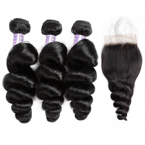 Eseewigs Virgin Malaysian Loose Wave Human Hair 3 Bundles With 4*4 Lace Closure