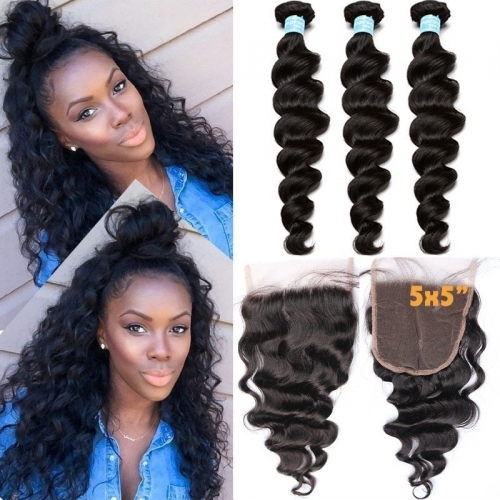 Brazilian Hair Weave Bundles With Closure 5x5 Loose Wave With Closure 3 Bundles Hair Products With Closure Bundle