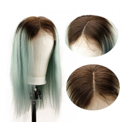 4TGreen Ombre Color Silky Straight Long Human Hair Wigs For Women Lace Front Wig Brazilian Remy Hair Mint Green