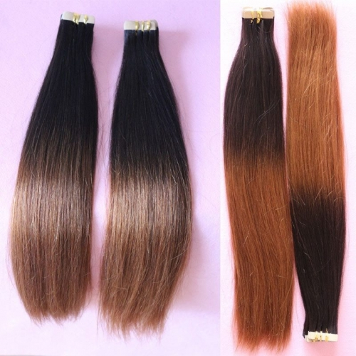 Tape Hair Ombre Virgin Brazilian Tape Hair Extension Human Hair Straight 2 Tone Hair Extensions