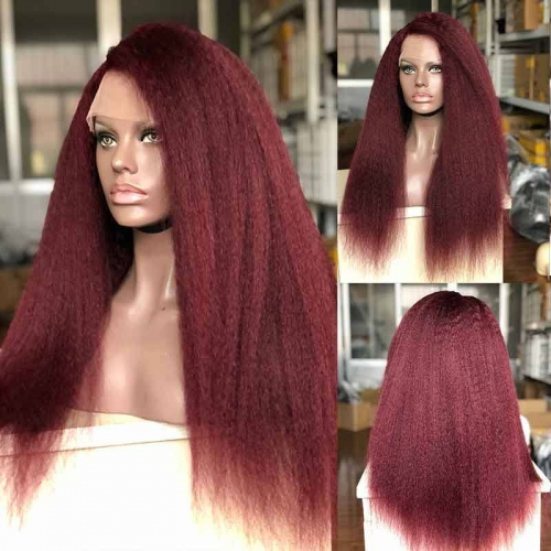 99J Color Kinky Straight 100% Human Hair 130%Density Lace Front Pre-Plucked Hair Line For Black Women With Baby Hair