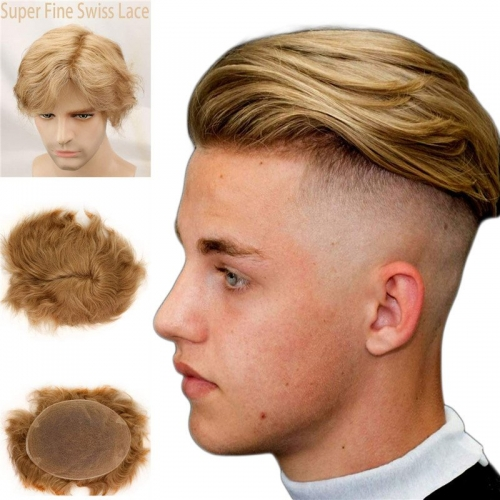 "Best Hair Replacement 100%Human Hair with French Lace  8""X10"" Hairpiece For Men#21 Ash Blonde Color"