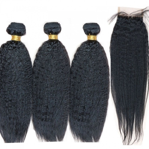 Kinky Straight Human Hair 4x4 Lace Closure Straight With 3 Bundles Peruvian Virgin Hair