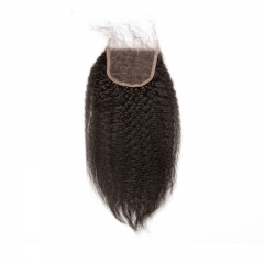 Natural Color Kinky Straight Hair Free Part Lace Closure 4x4 inchs