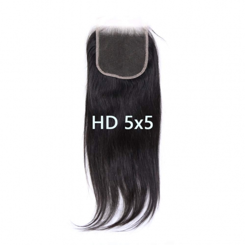 5X5 Transparent Invisible Hd Lace Thinner Lace Closure Malaysian Straight Wave Human Hair With Baby Hair Bleached Knots 10A Lace Top Closure