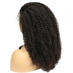 Lace Front Wig 180% Density Kinky Curly Brazilian Virgin Hair Pre Plucked With Natural Baby Hair