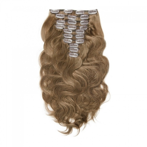 Burgundy 99J 120g Clip in Extension Body Wave 8# Color 10pcs
