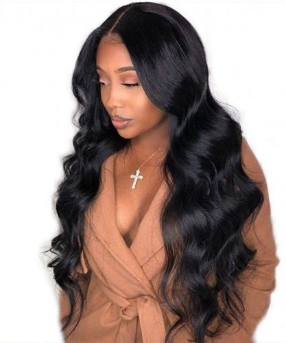 Pre-Made Fake Scalp Glueles Lace Frontal Wigs Human Hair With Pre Plucked Baby Hair Brazilian Body Wave High Density