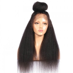 360 Lace Wigs 180% Density Kinky Straight Full Lace Human Hair Wigs With Natural Hairline
