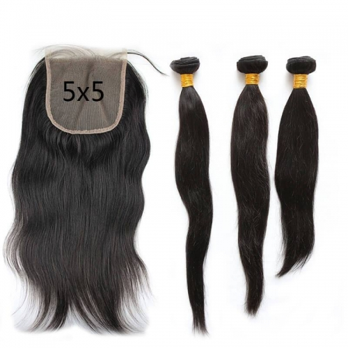5X5 Transparent Invisible Hd Lace Thinner Lace Closure Silky?Straight 3Bundles With Lace Closure ?HD 5x5 Peruvian Human Hair Natural Color