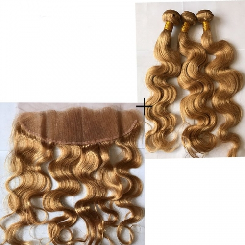 27# Honey Blonde 13x4 Ear to Ear Lace Frontal with 3Pcs Bundles Body Wave Human Hair