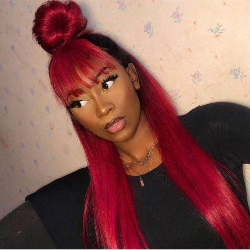 Red Human Virgin Hair Pre Plucked Lace Front Wig For Black Woman