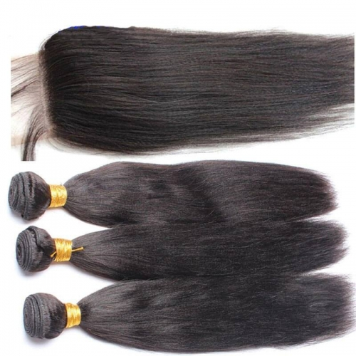 Brazalian Virgin Human Hair 3 Bundles With 4X4  Lace Closure Yaki Straight  Weave