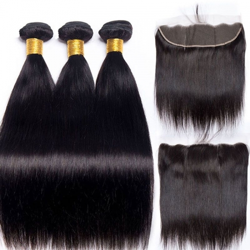 Brazilian Hair Silky Straight 13X4 Lace Frontal Closure With Bundles For Sale