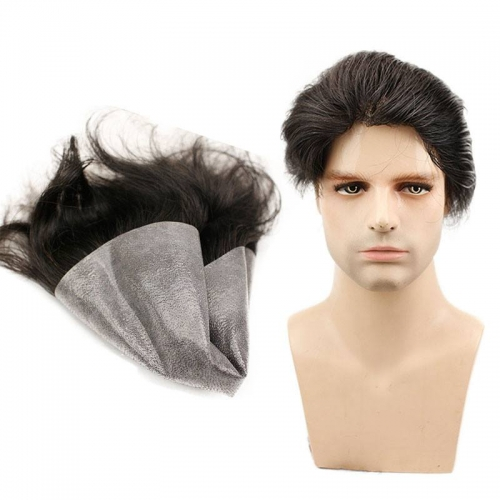 Hair Replacement Super Soft Thin Skin PU Base 10*8 Black Hair Straight Brazilian Remy Human Hair Toupee for Men 1b#