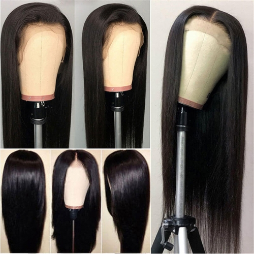 Silky Straight Lace Front Wig Brazilian Remy Human Hair Pre Plucked 250 Density Lace Wig with Baby Hair for Women