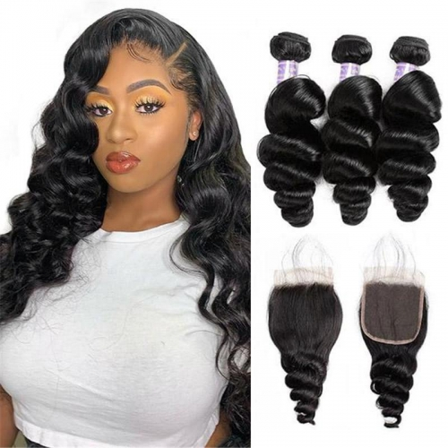 Eseewigs Virgin Brazilian Loose Wave Human Hair 3 Bundles With 4*4 Lace Closure
