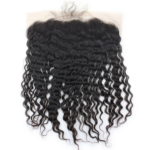 150% Density 13X6 Ear To Ear Lace Frontal Closure Human Hair Brazilian Virgin Hair  Deep Wave Nautral Color Bleached Knots