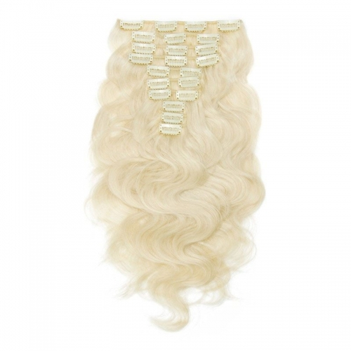 Light Blonde 160g 10 pcs Body Wave Hair Clip in Peruvian Virgin Human Hair Extension 60# 613# Color