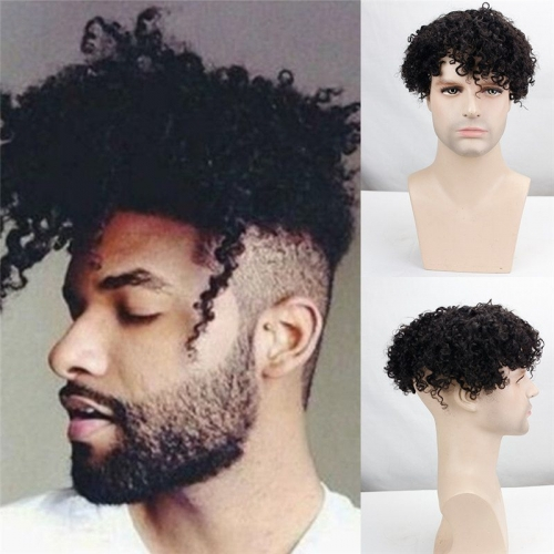 100% Human Hair Curly Natural Black Hair Replacement System Full Lace 9X7 Toupee For Men