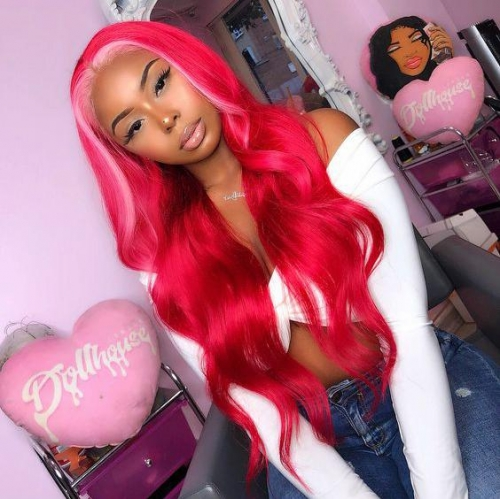 Ombre Wig Red Highlight Pink Body Wave & Straight Virgin Human Hair Lace Front Wig With Baby Hair