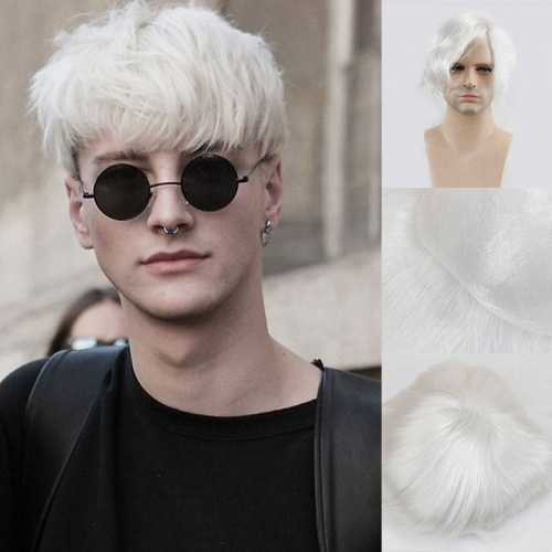 Fashion Super Thin Skin 100% Human Hair Pure White Color 8X10 Toupee For Men