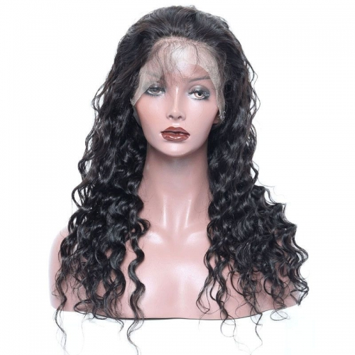Loose Wave 180 Density Human Hair Baby Hair All Around Natural 360 Lace Wigs for Sale