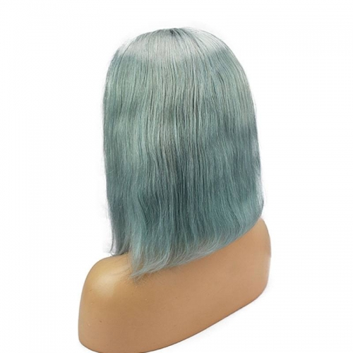 Womens Short Straight Pale Pastel Green Bob Human Hair Lace Front Wig