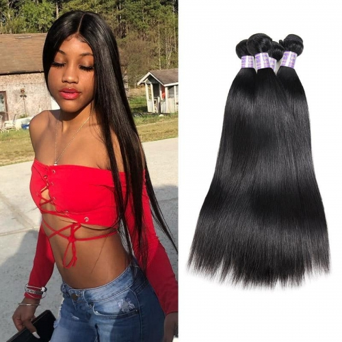Eseewigs Brazilian Straight 4 Bundles Virgin Human Hair