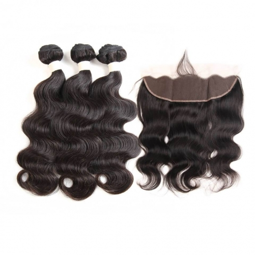 Body Wave 3 Bundles With Frontal 13x4 Ear To Ear Lace Frontal Closure With Bundles non Remy Human Hair Wonder girl