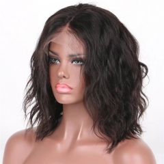 Bob Wavy Glueless lace Front Remy Brazilian Hair Wigs for Black Women Frontal Lace Front Bob Wave Human Hair Wigs