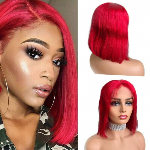 Red Straight Lace Front Human Hair Wig Pre Plucked Brazilian Remy Burgundy Wigs Full 130% Density For Black Women