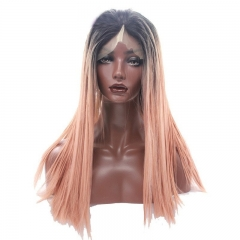 Eseewigs Black Root Ombre Light Orange Lace Front Wig Free Part Synthetic Slik Long Natural Straight Lace Front Wig For Women Heat Resistant Fiber Hai